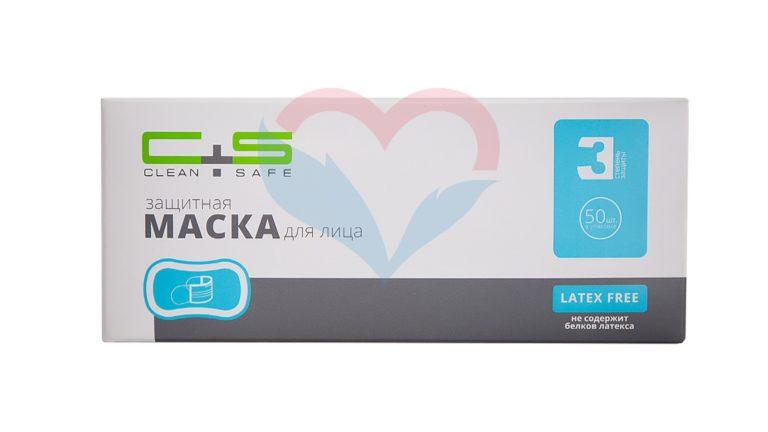 Clean+Safe Маска трехслойная на резинках