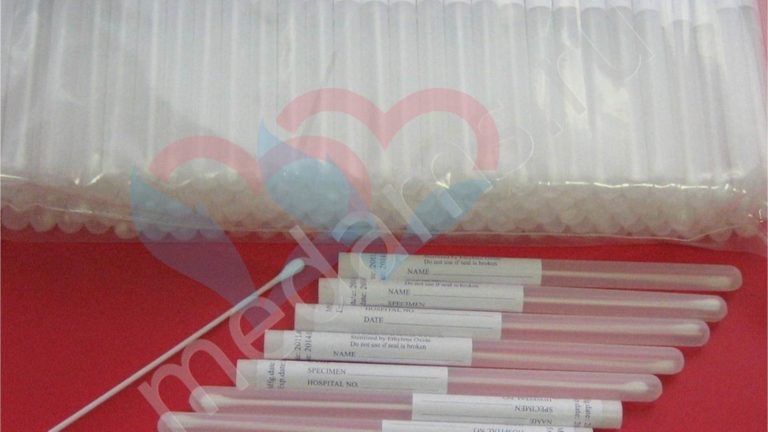 Зонд тампон в пробирке (тупфер) для взятия мазков (пластик-хлопок)
