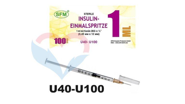 SFM Шприц (3-х комп.) 1мл U40-U100